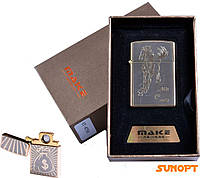 """USB зажигалка в подарочной упаковке """"MAKE"""" (спираль накаливания) №4791-1"""