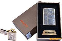 """USB зажигалка в подарочной упаковке """"MAKE"""" (спираль накаливания) №4791-3"""