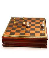 Шахматы подарочные деревянные покрытие серебро золото в подарочной коробке Разум