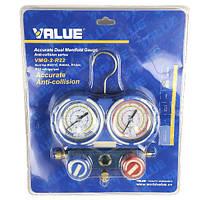 Value Коллектор заправочный 2-вентильный VMG-2-R410A-B в кейсе шлангами Value R-22, R-134, R-407, R-410