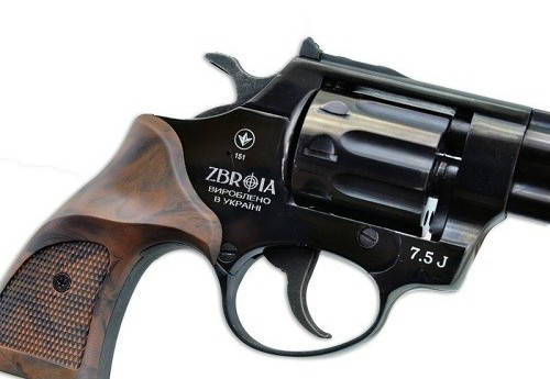 """Револьвер Profi 3"""" чёрный/пластик под дерево. Револьвер под патрон Флобера 4 мм Zbroia Profi 3"""", фото 2"""