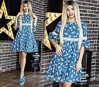Льняное женское платье цветочного принта