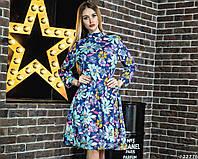 Яркое цветочное женское платье до колена