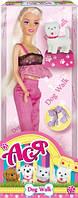 Прогулка с собачкой, набор с куклой 28 см, блондинка в розовом, Ася