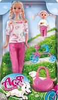 Семейная прогулка, набор с куклой 28 см. и маленькой куклой 11 см, велосипед, Ася