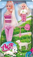 Семейная прогулка, набор с куклой 28 см. и маленькой куклой 11 см, самокат, Ася