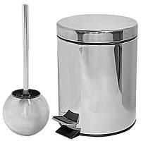 Набор ведро для мусора Trento 5 л + ершик полированный