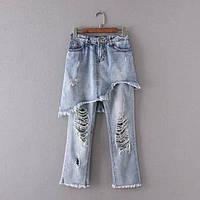 Рваные джинсы с юбкой, фото 1