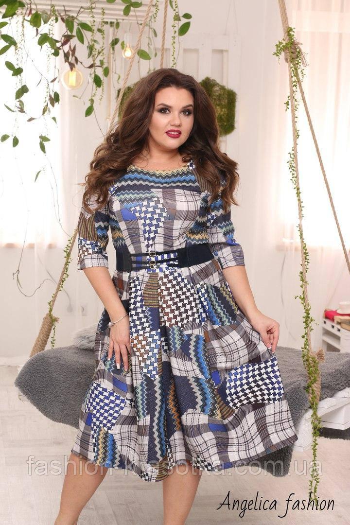 """Нарядное женское платье  """"бело-синяя клетка """""""