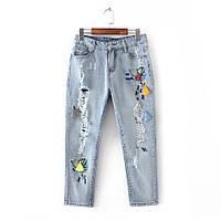 Светлые джинсы с потертостями, фото 1