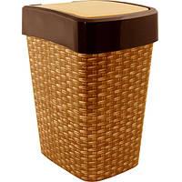 Ведро для мусора Алеана Евро с декором Ротанг 18 л
