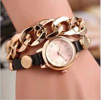Женские часы с черным ремешком и цепочкой (41)