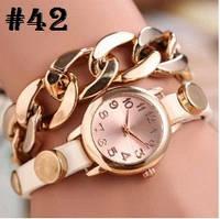 Женские часы с белым ремешком и цепочкой (42)