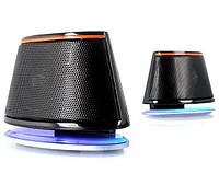 Колонки 2.0 F D V620 Black USB / 2x1,2Вт / 90-20000Hz / пластик / mini-jack 3.5 / управление на кабеле, голубая подсветка