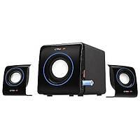 Колонки 2.1 Crown CMS-3704 Black / Sub: 4Вт, Sat: 2x1.5Вт / 30-20000Hz / пластик / mini-jack 3.5 / управление сбоку / USB / SD