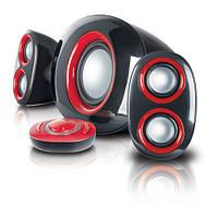 Колонки 2.1 Gemix SB-25U Black-Red / Sub: 20Вт, Sat: 2x7Вт / 35-18000Hz / пластик / mini-jack 3.5 / ДУ(проводной), USB ридер, кардридер SD