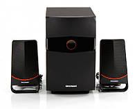 Колонки 2.1 GreenWave SA-375 Black-Orange / Sub: 25 Вт, Sat: 2x12Вт / 40-20000Hz / МДФ-пластик / RCA / Bluetooth / FM-тюнер / цифровой LED-дисплей с
