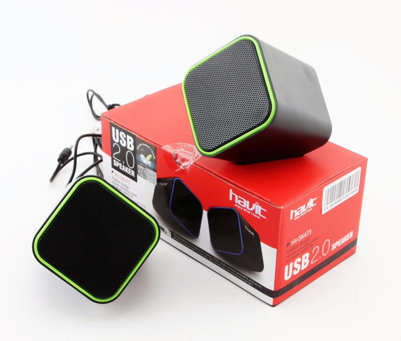 Колонки Havit HV-SK473, Black/Green, USB, 2x3 Вт