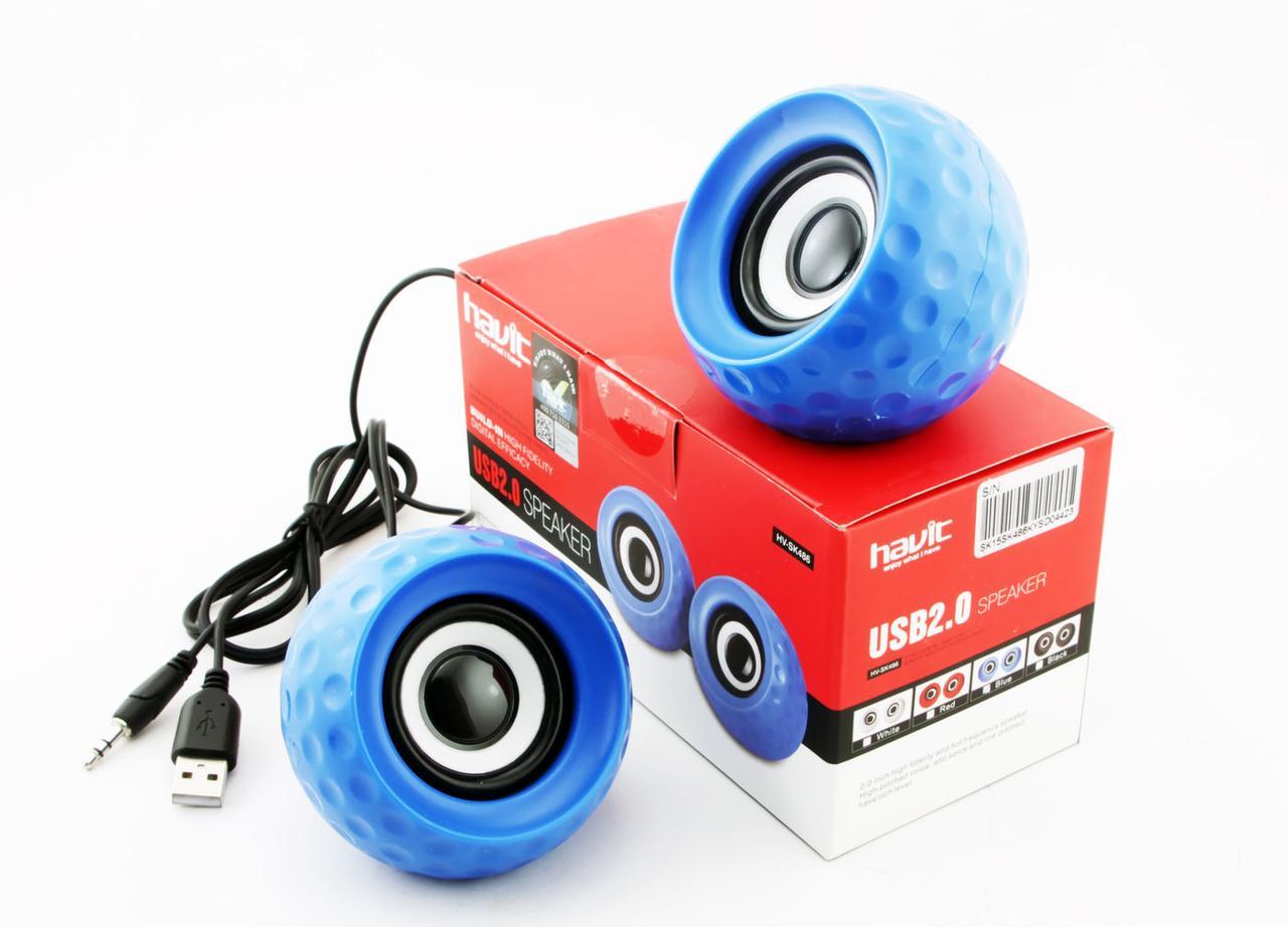 Колонки Havit HV-SK486, Blue, USB, 2x3 Вт, регулятор громкости