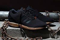 Мужские кроссовки Adidas ZX Flux Black - Gold Адидас ЗХ Флакс Черные с Золотым