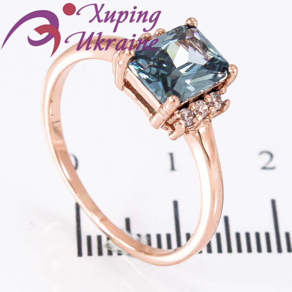 Кольцо позолота квадратный камень