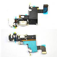 Шлейф для iPhone 6, с разъемом зарядки, с коннектором наушников, с микрофоном, белый
