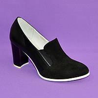 Женские классические черные туфли на высоком каблуке, натуральная замша и кожа
