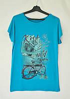 """Футболка женская с рисунком """"Keep wild""""  - голубой"""