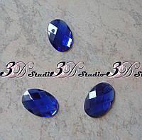 Стразы декор овал большой 3*2 см синий