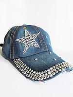 Бейсболка джинсовая со стразами Звезда, фото 1