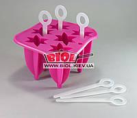 Силиконовая формочка для леденцов (мороженого) на палочке на палочке (на 6шт.) розового цвета