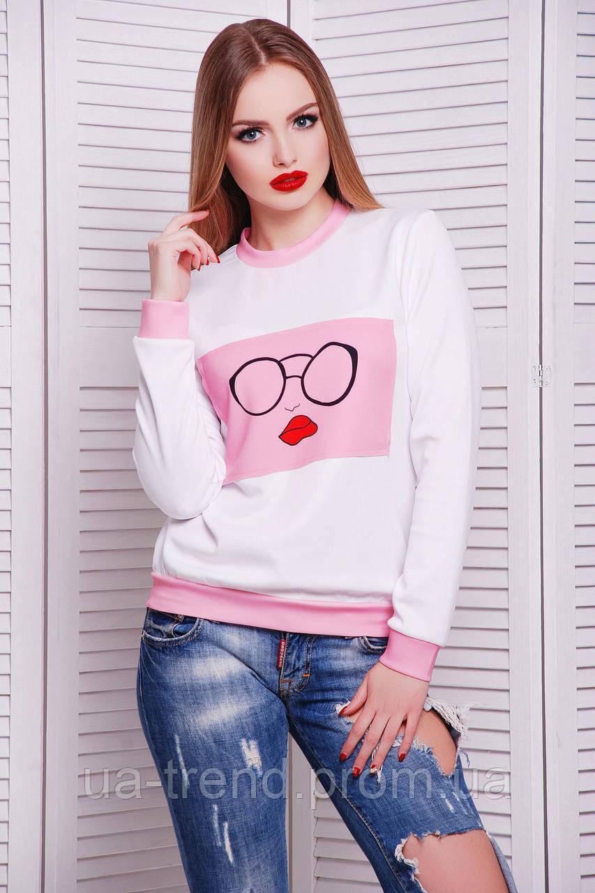 Модный свитшот белого цвета с розовым рисунком