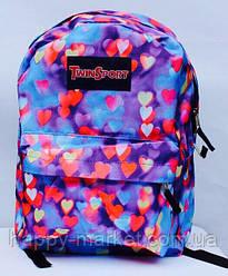 Ранец Рюкзак Стильный Городской водонепроницаемый  Hearts с карманом 6018