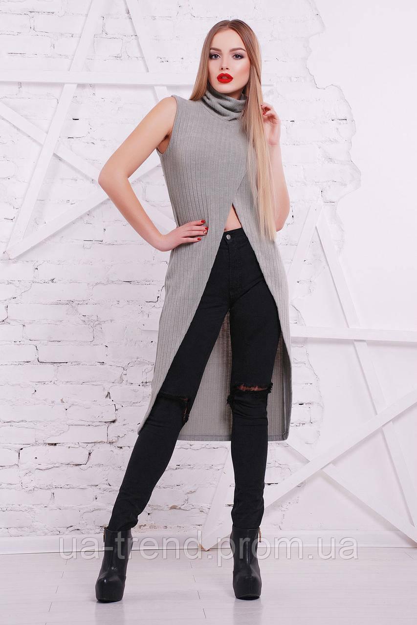 Женская кофта-туника серого цвета