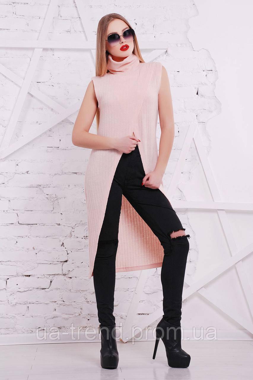 Женская кофта-жилет розового цвета