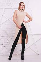 Женская удлиненная кофта из акриловой вязки