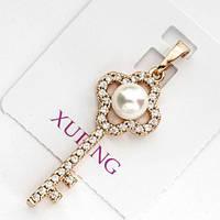 Кулон xuping ключик с жемчужиной длина 3.7см 176