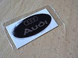 Наклейка s надпись овал AUDI 45х20х1.2мм силиконовая эмблема логотип марка бренд на авто Ауди серебристая, фото 2