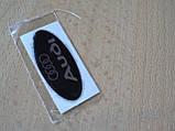 Наклейка s надпись овал AUDI 45х20х1.2мм силиконовая эмблема логотип марка бренд на авто Ауди серебристая, фото 3