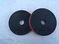 Блины для штанги и гантелей 1,25 кг (с красной каймой)