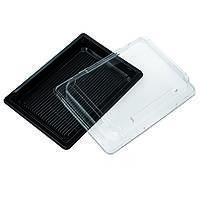 Контейнер для суши 185х129 черный с прозрачной крышкой