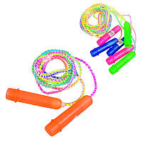 Скакалка MS 0183 (600шт) 265см, веревка резина, пластик.ручки, 4 цвета, 278см