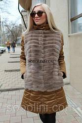 Куртка из золотой плащевки + жилет из норки скандинавской, в наличии 44 р
