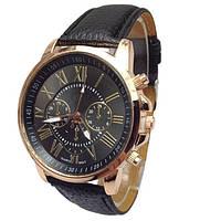 Часы женские наручные кварцевые с чёрным ремешком, чёрный циферблат