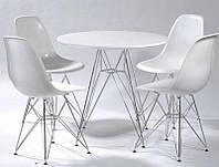 Стол обеденный Тауэр, круглый, диаметр 100 см, круглый стол на металлических ножках, eames eiffel leg table