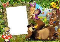Фоторамка Маша и медведь 1 вафельная картинка