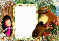 Фоторамка Маша и медведь 2 вафельная картинка