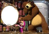 Фоторамка Маша и медведь 3 вафельная картинка
