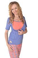 Пижама для беременных и кормящих синий+коралловая клетка размеры 42-50