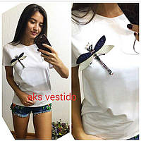 """Женская стильная футболка """"Стрекоза"""" (2 цвета)"""